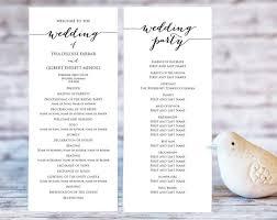 wedding program ceremony wedding program templates ceremony program template diy wedding