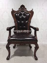 Leather Upholstered Dining Chairs American Latest Design Retro Wooden Dining Chair Vintage Leather