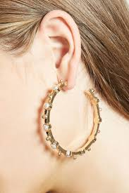 pearl hoop earrings faux pearl hoop earrings forever 21 1000159081
