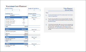 Travel Budget Template Excel Ms Excel Vacation Cost Planner Template Excel Templates
