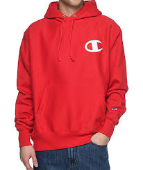 champion reverse weave big c red hoodie zumiez