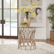shop for inspire q davlin round glass top champagne base dining