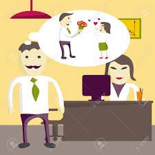 l amour dans le bureau l amour au bureau gestionnaire homme veut donner des fleurs à une