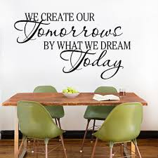 aliexpress com buy inspirational quotes we creative our aliexpress com buy inspirational quotes we creative our tomorrows by we dream today vinyl wall sticker decals home decoration wall pictures murals from