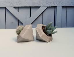 Concrete Succulent Planter Concrete Planter Geometric Diamond Handmade Cachepot