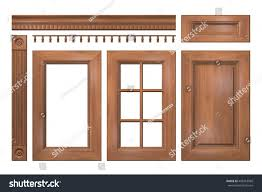 kitchen cabinet 3d front collection isolated wooden doors drawer stock illustration