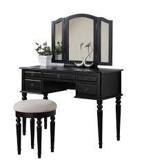 Glass Makeup Vanity Table Furniture Luxury Black Vintage Makeup Vanity Antique Wood Corner