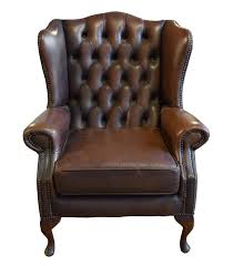 Leather Club Chair Tufted Leather Wing Chair Traditional Armchairs U0026 Club Chairs