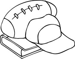 outline of football equipment and a book coloring page free