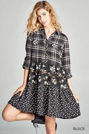 tiered floral plaid shirt dress black presale