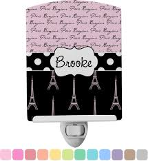 Paris Bathroom Set by Paris Bonjour And Eiffel Tower Ceramic Night Light Personalized