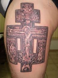 awesome jesus cross on thigh