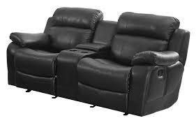 Black Leather Sofa Recliner Homelegance Marille Reclining Loveseat W Center