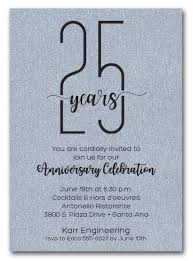 anniversary party invitations shimmery silver business anniversary party invitations