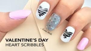 valentine u0027s day nail art heart scribbles youtube