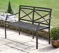 metal garden bench with cushion bench decoration