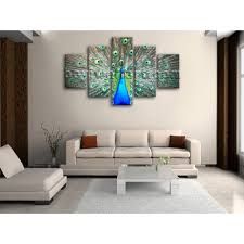 huge photo print wall art design peacock bird 5 panels home decor