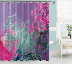 Bright Pink Bathroom Accessories by Abstract Shower Curtain Purple Cream And Green Shower Curtain