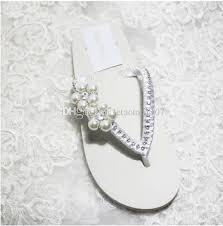 wedding shoes nz handmade white ivory pearl flower rhinestone flatforms wedge heel