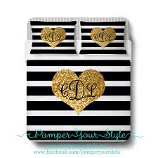 Eiffel Tower Bedding Gold Glitter Bedding Striped Personalized Comforter