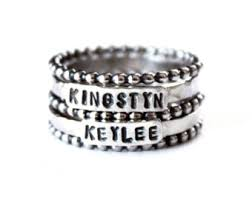 stackable engraved mothers rings stacking ring set sterling silver child s name rings 925