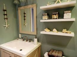 themed shelves themed bathroom with seashell accessories and floating