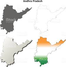 andhra pradesh blank outline map set stock vector art 831135484