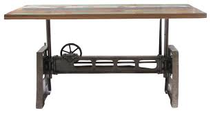 Reclaimed Wood And Iron Adjustable Dining Table Rustic Dining - Adjustable height kitchen table