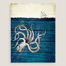art deco octopus ring holder images Octopus canvas wall art world market tif&a