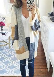 cardigan sweaters beige color block print pockets fashion cardigan sweater