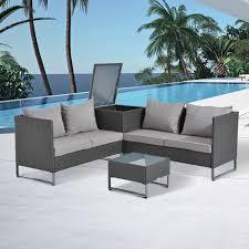 Patio Furniture Conversation Set - outsunny 4 piece modern sectional patio furniture conversation set