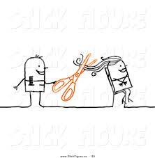 clip art of a stick figure character hairdresser cutting a woman u0027s