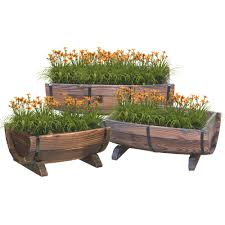Half Barrel Planters by Vintiquewise Half Barrel Garden Planter Set Of 3 Qi003140 3
