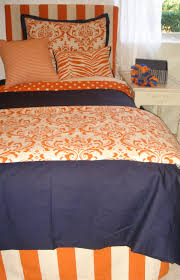 auburn custom orange and blue damask dorm room bedding and decor
