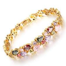 multi colored stones bracelet images Multicolor cubic zirconia mona lisa stone bangle bracelet jpg