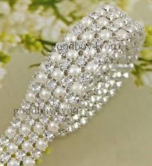 pearl ribbon type 4 1 yard 4 rows diamond a rhinestone and pearl wedding cake