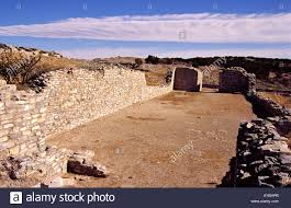 ancient anasazi stone and adobe homes at gran quivira ruins