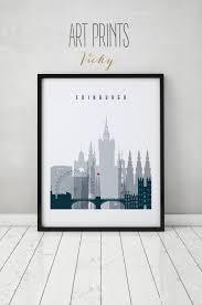 edinburgh art print poster wall art scotland edinburgh skyline