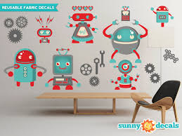 robots fabric wall decals wall stickers robot theme nursery zoom