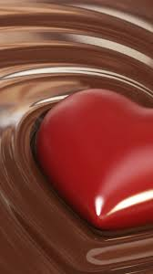 heart in liquid chocolate mobile wallpaper phone background