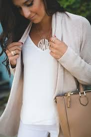 large monogram necklace neutral drape cardigan a southern drawl