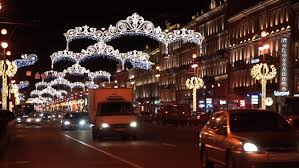 st petersburg nevsky prospect is decorated with christmas