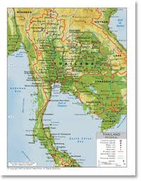 map of thailand physical map of thailand