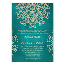 teal wedding invitations and gold indian style wedding invitation card