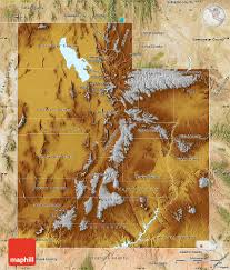 Map Of Utah by Physical Map Of Utah Satellite Outside