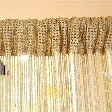 Silver Valance Silver Silk String Curtains For Living Room Tassel Window Door