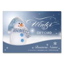 gift card business snowman winter and gift certificate business card