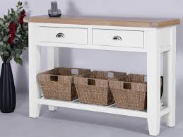 white console table with drawers derbyshire white console table large with 2 drawers and 3 baskets