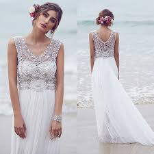 beaded wedding dresses cbell vintage v neck beaded wedding dresses boho