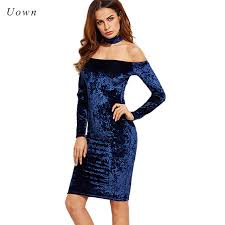 aliexpress com buy autumn long sleeve navy blue velvet dress